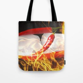 Fire and Ice, Sharp chilis in flames Tote Bag