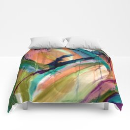 Brave: A colorful and energetic mixed media piece Comforters