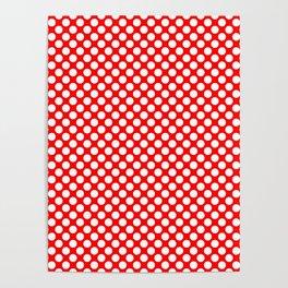 Large White Polkadots on Australian Flag Red Poster