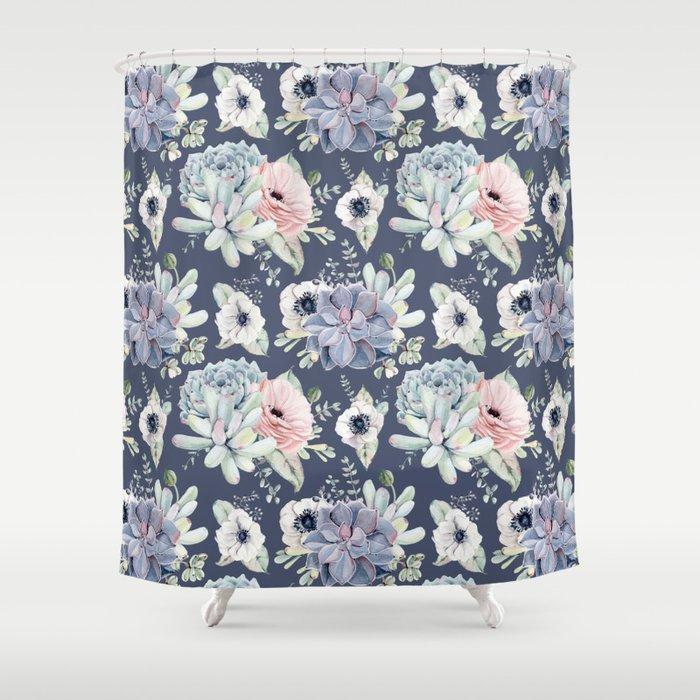Beautiful Succulent Garden Navy Blue Pink Shower Curtain By Naturemagick