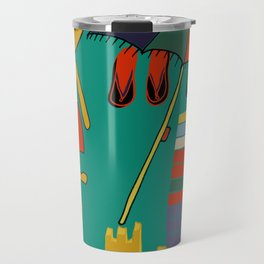 Cat pirate at the beach green Travel Mug