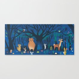 Forest At Night Canvas Print