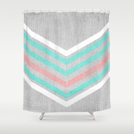 Teal Pink And White Chevron On Silver Grey Wood Shower