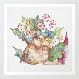 Christmas Gift Bag & Sweets Art Print