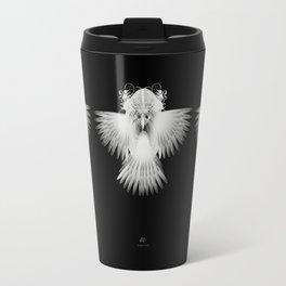 Strange Hummingbird-1.White on black background. Travel Mug