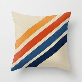 Rainbow 70s 60s Stripe Colorful Rainbow Tan Retro Vintage Throw Pillow