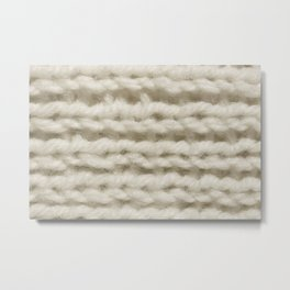 White Wool Knitting Texture Metal Print
