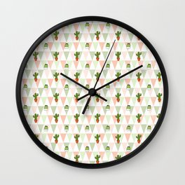 Hand painted pink coral green geometrical cactus Wall Clock