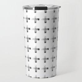 Smudgy Painted Cross Minimalist Monochromatic Black Grey and White Pattern Travel Mug