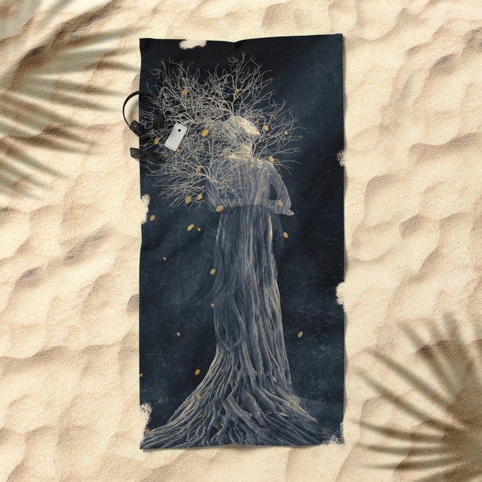 Dark portrait in autumn II Beach Towel