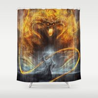 lotr Shower Curtains featuring 'You shall not pass' by jasric