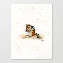 """Chippy"" Chipmunk - animal watercolor painting Canvas Print"