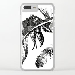 FEATHERS IN BLACK WHITE AND GRAY Clear iPhone Case