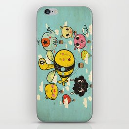 Happy Flight / The Animals Hot Air Balloon Voyagers / Patterns / Clouds iPhone Skin