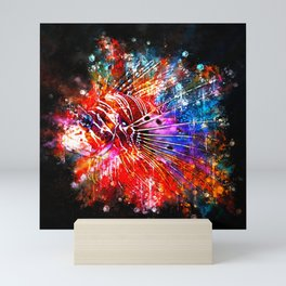 lionfish splatter watercolor Mini Art Print