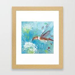 Hummingbird and White Flower Framed Art Print