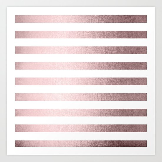 Simply Striped Rose Gold Palace Art Print