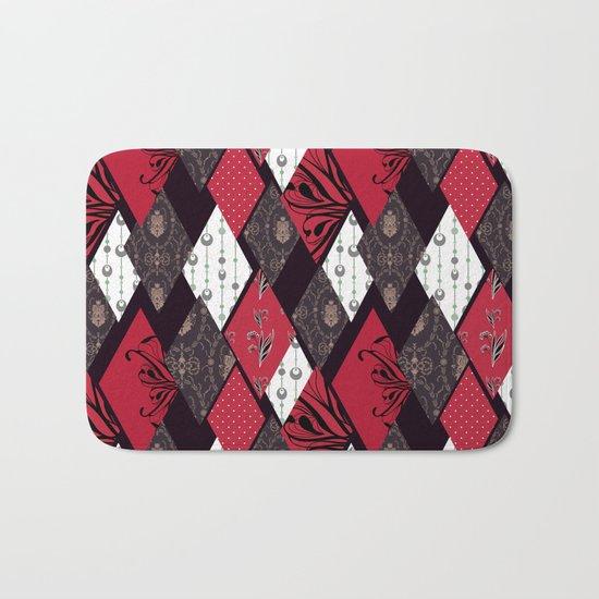 Black-red patchwork . Bath Mat
