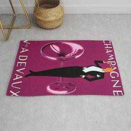 Vintage Champagne Pink Veuve A. Devaux, Paris, France Jazz Age Roaring Twenties Advertisement Poster Rug