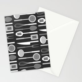 Kitchen Utensil Silhouettes Monochrome II Stationery Cards