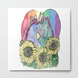 Unicorn Queer Sunflower Metal Print