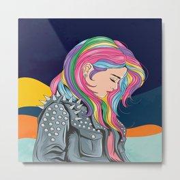Girl unicorn full colour hair with rocker jacket punker style Metal Print