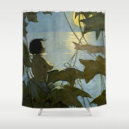 """Baby and the Moon"" by Jessie Willcox Smith Shower Curtain"
