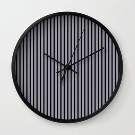 Lilac Gray and Black Stripes Wall Clock