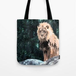 Lion King of the Emerald Panthera Galaxy Tote Bag