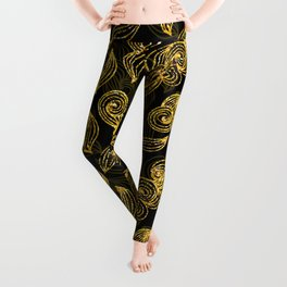 Golden Decorated Christmas Pattern 2 Leggings