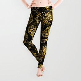 Golden Decorated Christmas Pattern 2 Leggings