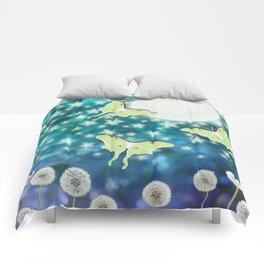 the moon, stars, luna moths, & dandelions Comforters