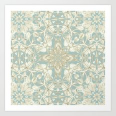 Soft Sage & Cream hand drawn floral pattern Art Print