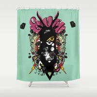 evil dead Shower Curtains featuring EVIL by DON'T NEED NO SAMURAI