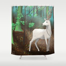 Halla in the forest Shower Curtain