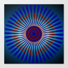 Mandala Sunrise in Maroon and Blue Canvas Print