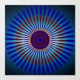 Mandala Sunrise in Maroon and Blue Canvas Print