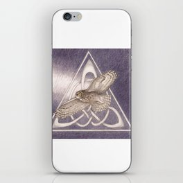 Nuit, the great-horned owl on white iPhone Skin