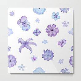 Purple Watercolor Floral Pattern Metal Print