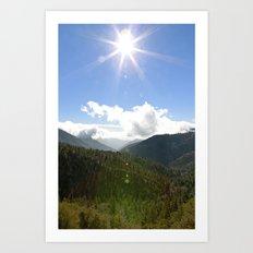 Big Bear Mountain Sunburst Art Print