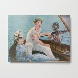 Boating on Crystal Lake: Manet Meets Friday the 13th Metal Print