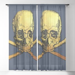 Navy Golden Skull Sheer Curtain