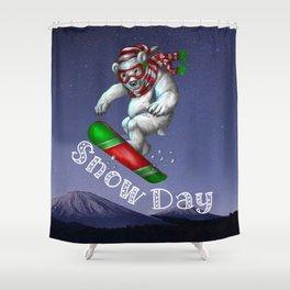 Snow Day Snowboard Shower Curtain