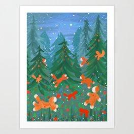 Fox cubs' nightwild Art Print