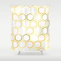 honeycomb Shower Curtains featuring Honeycomb by Thomas Knapp