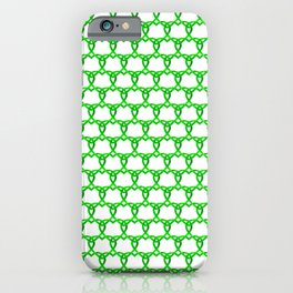 Interweaving sparkling pattern of green hearts on a light background. iPhone Case