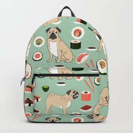 Pug sushi pattern dog breed cute pet art pet friendly gifts pugs Backpack