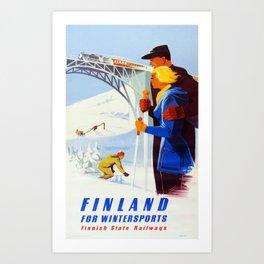 Vintage Finnish Ski Travel Poster - Finnish State Railways Art Print