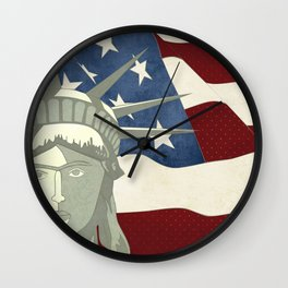Statue of Liberty American Flag Wall Clock