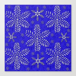 DP044-10 Silver snowflakes on blue Canvas Print